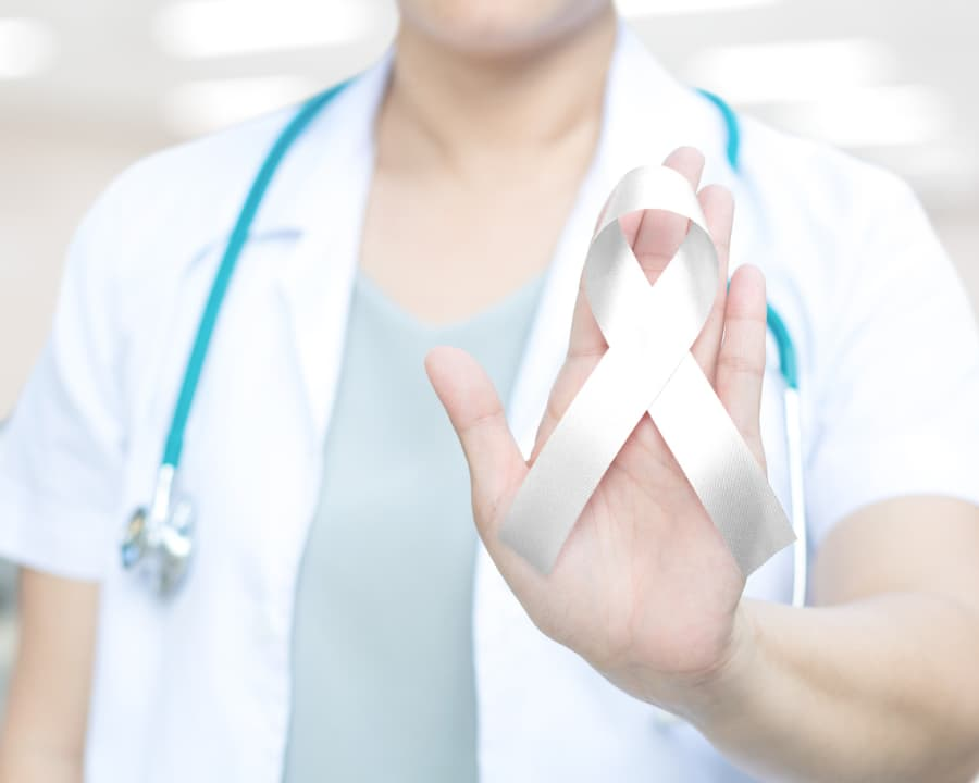 Doctor Holding Lung Cancer Awareness Ribbon