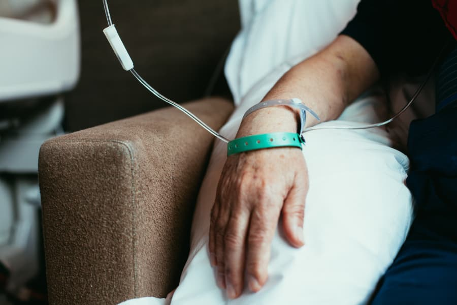Patient receiving infusion therapy